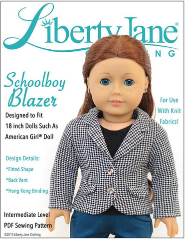 "Liberty Jane 18 Inch Modern Schoolboy Blazer 18"" Doll Clothes Pattern Pixie Faire"