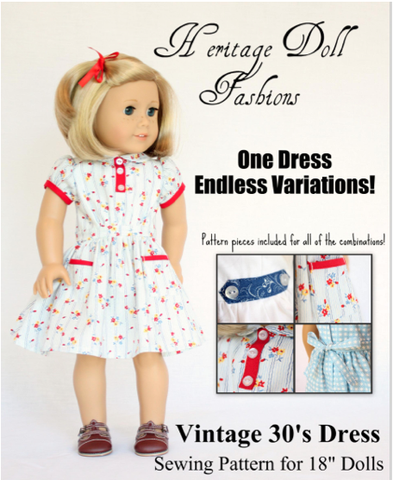 "Heritage Doll Fashions 18 Inch Historical 1930's Vintage Dress Pattern 18"" Doll Clothes Pixie Faire"