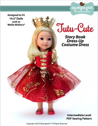 "Tutu Cute Story Book Dress-up Costume Dress 14.5"" Doll Clothes Pattern"