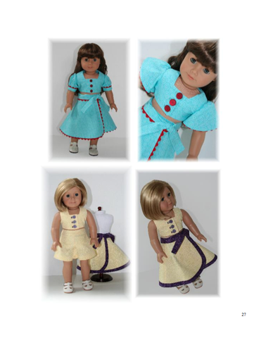 "1940's Vintage Inspired 3 Piece Playsuit 18"" Doll Clothes"