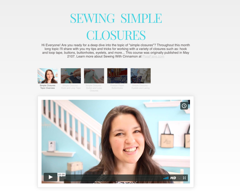 Sewing Simple Closures - Master Class Video Course