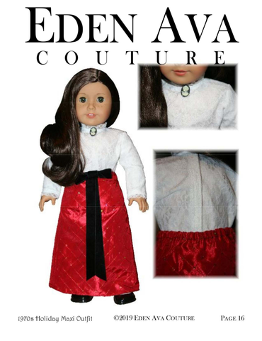 "Eden Ava 18 Inch Historical 1970's Holiday Maxi Outfit 18"" Doll Clothes Pattern Pixie Faire"