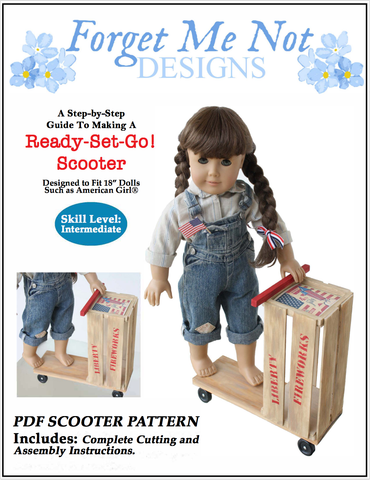 "Forget Me Not Designs 18 Inch Historical Ready, Set, Go! Scooter 18"" Doll Crafting Pattern Pixie Faire"