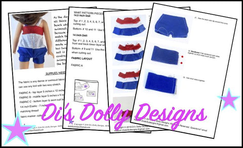 pdf doll clothes sewing pattern tankini swimsuit designed to fit hearts for hearts girls and WellieWishers