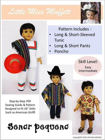 "Senor Pequeno 18"" Doll Clothes Pattern"