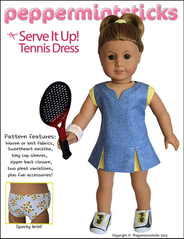 "Serve It Up! Tennis Dress 18"" Doll Clothes Pattern"