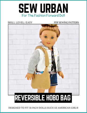 "Sew Urban 18 Inch Modern Reversible Hobo Bag 18"" Doll Accessories Pixie Faire"