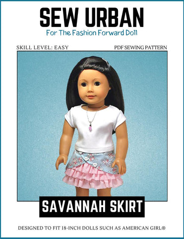 "Sew Urban 18 Inch Modern Savannah Skirt 18"" Doll Clothes Pattern Pixie Faire"