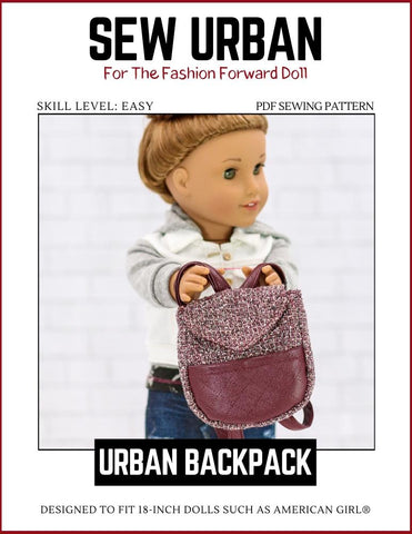 "Sew Urban 18 Inch Modern Urban Backpack 18"" Doll Accessory Pattern Pixie Faire"