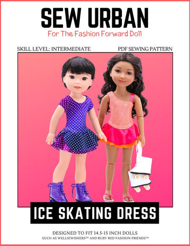 "Ice Skating Dress 14.5"" -15"" Doll Clothes Pattern"
