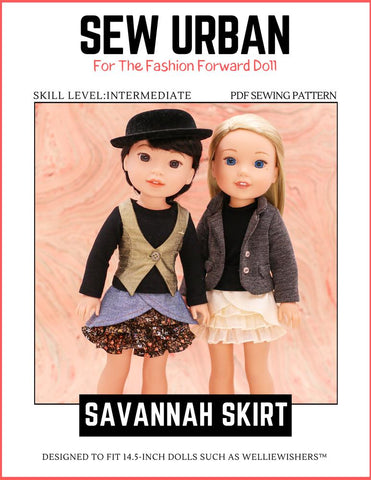 "Sew Urban WellieWishers Savannah Skirt 14.5"" Doll Clothes Pattern Pixie Faire"