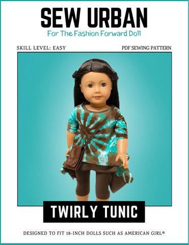 "Sew Urban 18 Inch Modern Twirly Tunic 18"" Doll Clothes Pattern Pixie Faire"