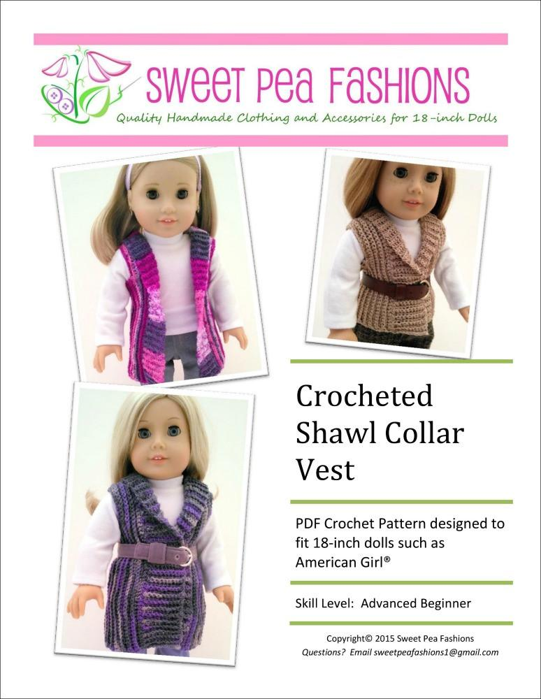 Sweet Pea Fashions Crocheted Shawl Collar Vest Doll Clothes Pattern ...