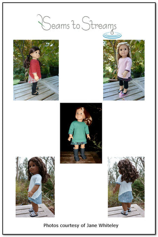 PDF Doll clothes sewing pattern Seams to Streams Sheer Delight top designed to fit 18 inch American Girl dolls