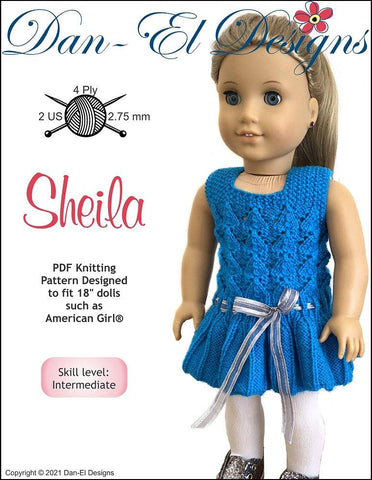 "Dan-El Designs Knitting Sheila 18"" Doll Knitting Pattern Pixie Faire"