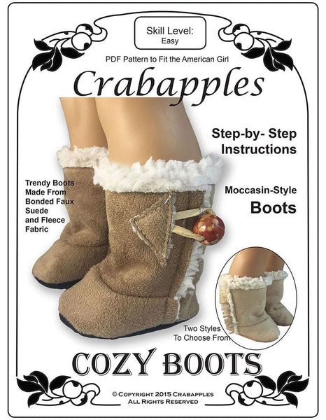 Crabapples Cozy Boots Doll Clothes Pattern 18 Inch American Girl 174 Dolls Pixie Faire