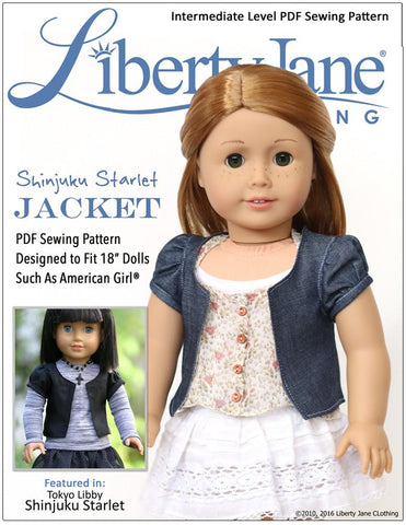 "Liberty Jane 18 Inch Modern Shinjuku Starlet Jacket 18"" Doll Clothes Pattern Pixie Faire"