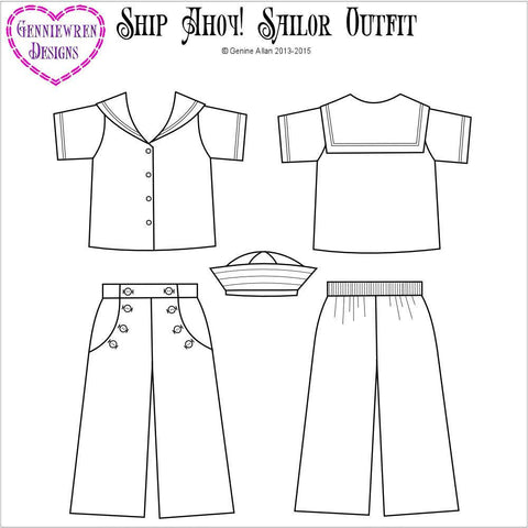 "Ship Ahoy! Sailor Outfit 18"" Doll Clothes Pattern"