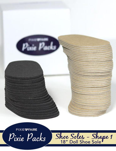 Pixie Packs SHAPE 1 Pre-cut Shoe Soles Black Foam and Chipboard