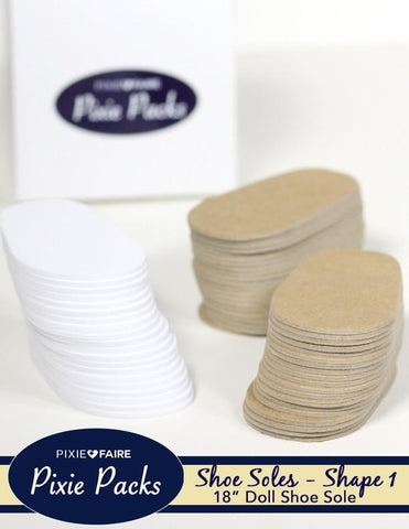 Pixie Faire Pixie Packs Pixie Packs SHAPE 1 Pre-cut Shoe Soles 2mm White Foam and Chipboard Pixie Faire