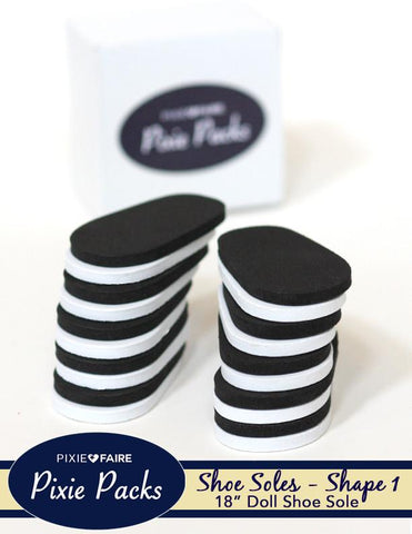 Pixie Faire Pixie Packs Pixie Packs SHAPE 1 Pre-cut Shoe Soles 6mm Black/White Pixie Faire