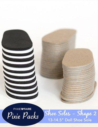 Pixie Packs SHAPE 2 Pre-cut Shoe Sole Black/White Foam and Chipboard