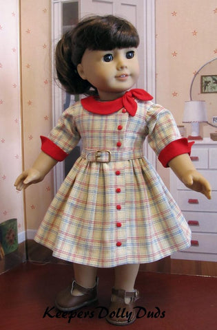 Keepers Dolly Duds Side Collar Dress 1950s dress pdf sewing pattern designed to fit 18 inch American Girl dolls