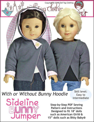 "Doll Tag Clothing 18 Inch Modern Sideline Bunny Jumper 18"" Doll Clothes Pattern Pixie Faire"