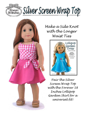 PDF Clothes sewing pattern Forever 18 Inches Silver Screen Wrap Top designed to fit 18 inch American Girl Dolls