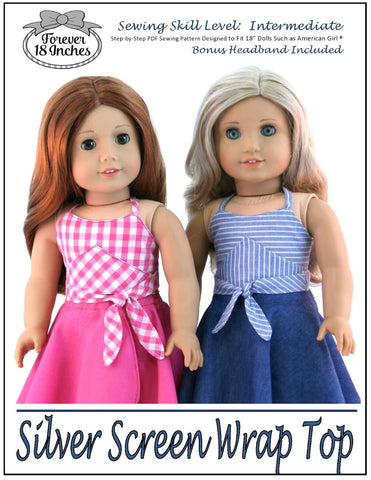 "Forever 18 Inches 18 Inch Modern Silver Screen Wrap Top 18"" Doll Clothes Pattern Pixie Faire"