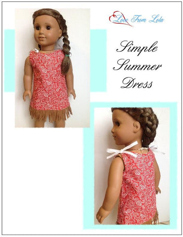 "Simple Summer Dress 18"" Doll Clothes Pattern"