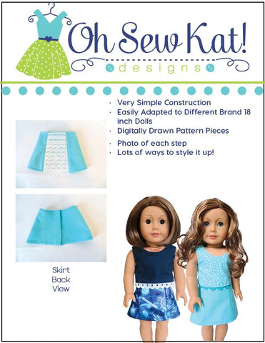 PDF doll clothes sewing pattern Oh Sew Kat Sixth Grade Skirt designed to fit 18 inch American Girl Dolls