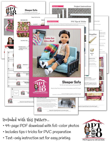 "AptOne8 18 Inch Modern Sleeper Sofa 18"" Doll PVC Pattern Pixie Faire"