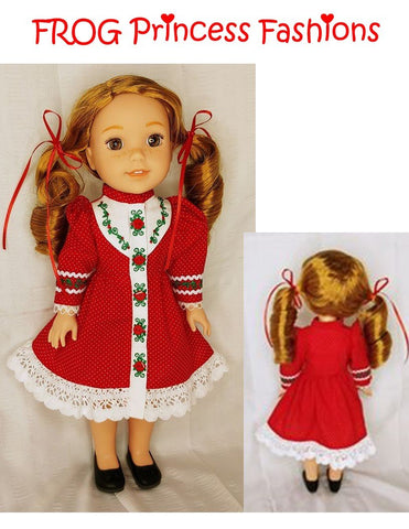 "Holly and Lace Machine Embroidery Design Set For 14.5"" Doll Clothes"