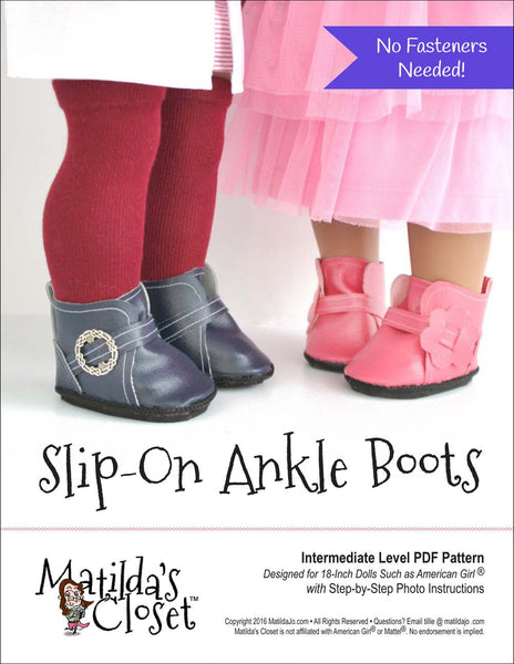 Matilda's Closet Slip-On Ankle Boots Doll Clothes Pattern ...