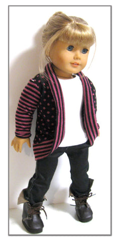 "Trendy Slouch Cardigan 18"" Doll Clothes Pattern"