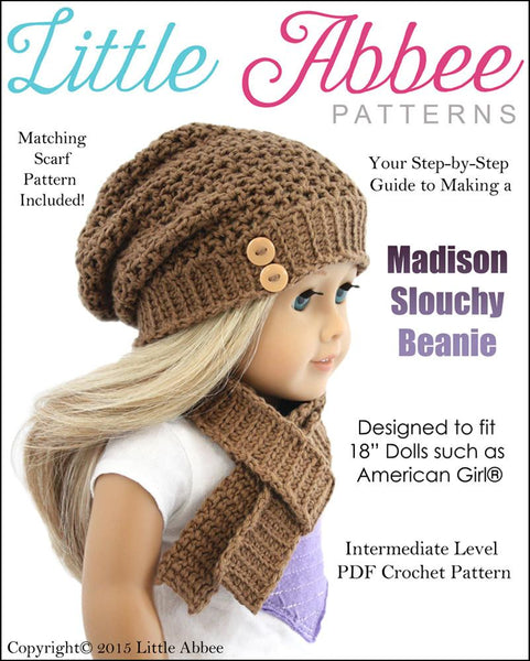 Little Abbee Madison Slouchy Beanie And Scarf Doll Clothes Pattern