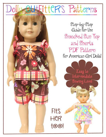 "Dolly Outfitters 18 Inch Modern Smocked Sun Top and Shorts 15"" and 18"" Doll Clothes Pattern Pixie Faire"