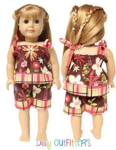 "Smocked Sun Top and Shorts 15"" and 18"" Doll Clothes Pattern"