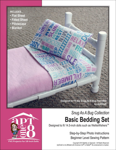 Snug As A Bug Collection: Basic Bedding Set 14.5 Inch Doll Accessory Pattern