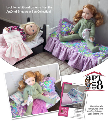 Snug As A Bug Collection: Ruffled Bedspread & Pillow Sham 14.5 Inch Doll Accessory Pattern