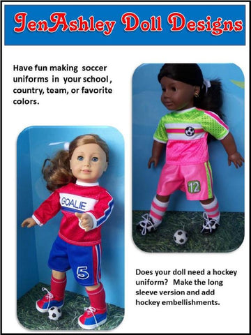 "Soccer Uniform 18"" Doll Clothes Pattern"