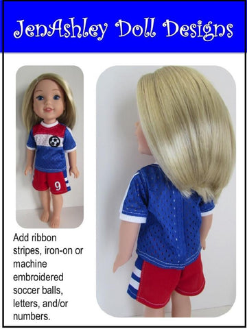 "Soccer Uniform 13-14.5"" Doll Clothes Pattern"