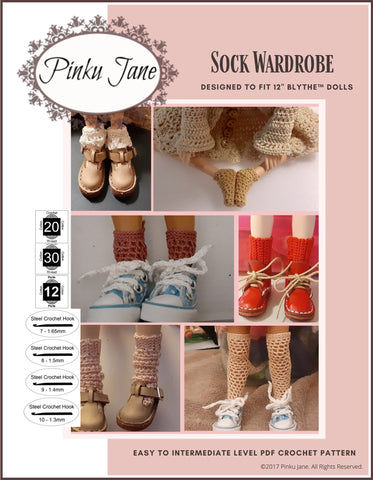 "Sock Wardrobe Crochet Pattern For 12"" Blythe Dolls"