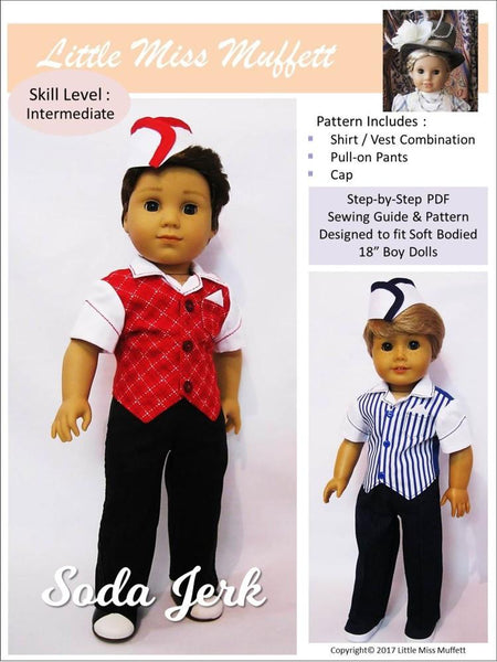 Little Miss Muffett Soda Jerk Doll Clothes Pattern 18 Inch