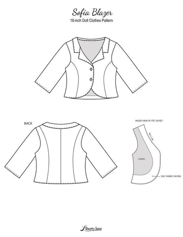 "Sofia Blazer 18"" Doll Clothes Pattern"