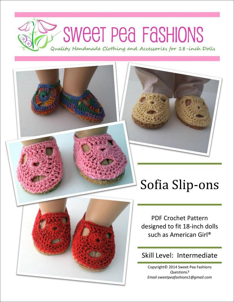 Sofia Crocheted 18 Inch Doll Shoes Pdf Pattern Download Pixie Faire