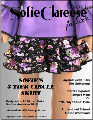 PDF doll clothes sewing pattern Sofie Clareese Fashion 3 tier circle skirt designed to fit 18 inch American Girl dolls