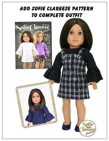 PDF doll clothes sewing pattern Sofie Clareese Sofie's Grommet Buckle Jumper Dress designed to fit 18 inch American Girl dolls