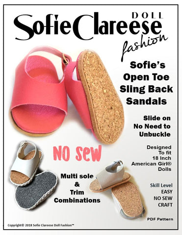 pdf crafting shoe pattern Sofie Clareese Fashion Sofie's Open Toe Sling Back Sandal designed to fit 18 inch American Girl dolls